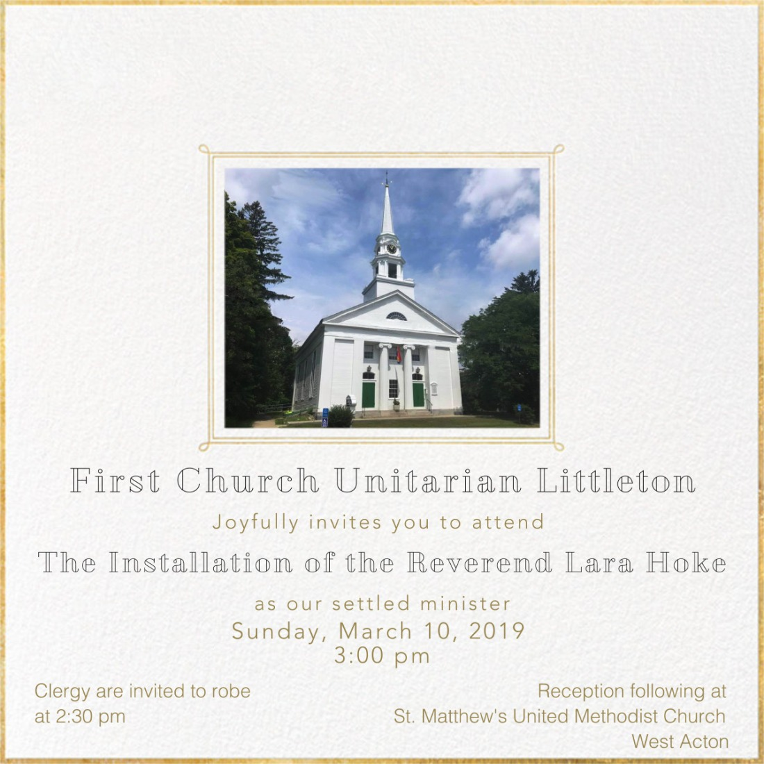 flyer invite FCU installation March 10